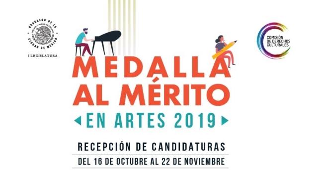 Convocatoria Medalla al Mérito en Artes 2019 por la Comisión de Derechos Culturales